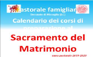 PREPARAZIONE AL MATRIMONIO DECANATO 2019-2020